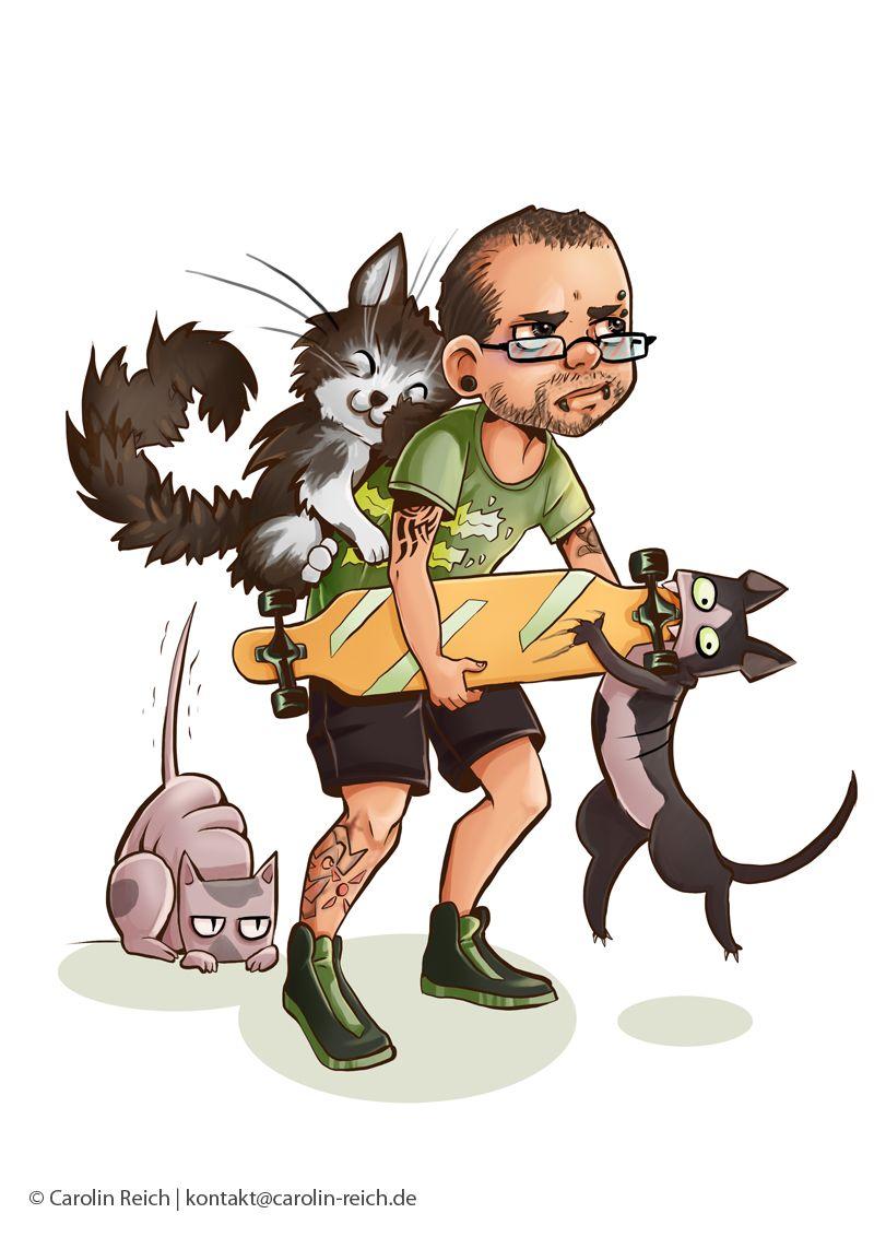 Cartoon Avatar Portrait-Zeichnung mit Katzen