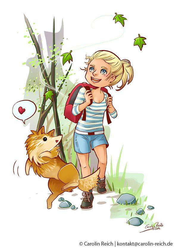 Cartoon Illustration Waldspaziergang