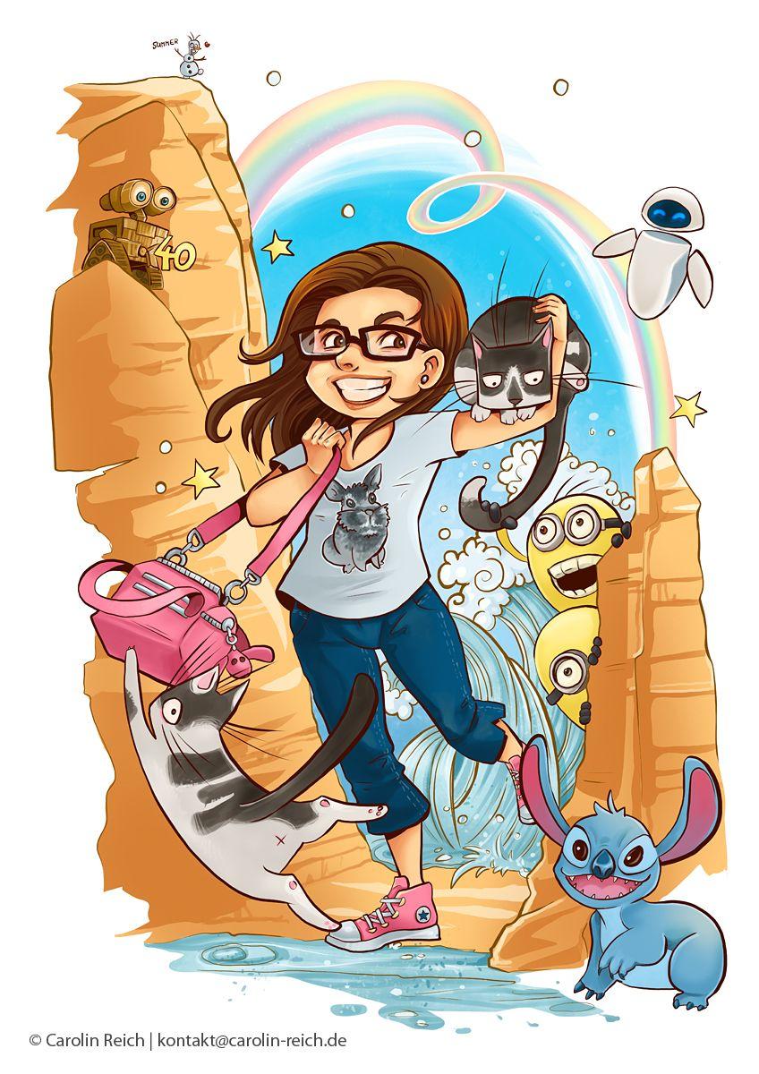 Cartoon Illustration Comedy-Szene