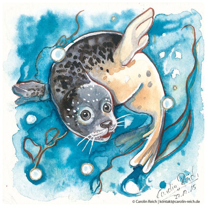 Aquarell Robbe