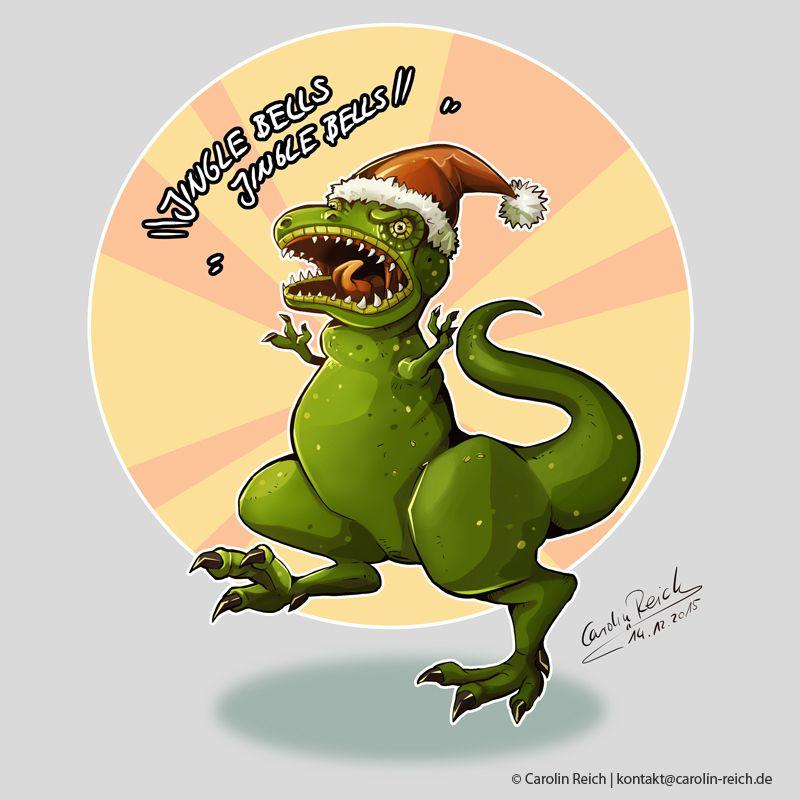 Cartoon T-Rex Weihnachten