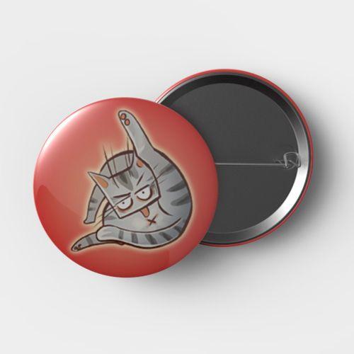 Button Katze Rot