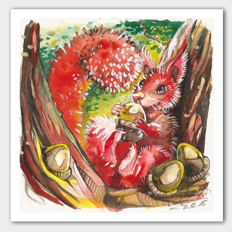 Kunstdruck Eichhörnchen Aquarell