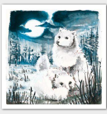 Kunstdruck Polarfüchse Aquarell