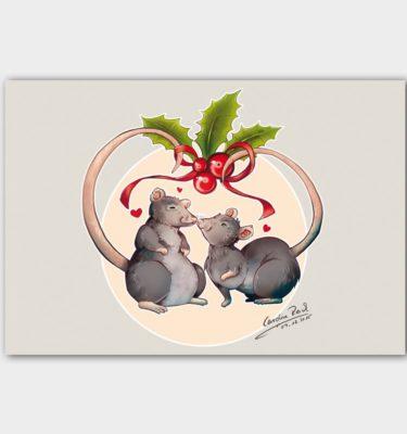 Postkarte Ratten-Liebespaar