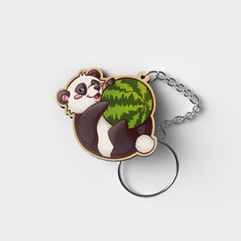 Schlüsselanhänger-Holz-Panda
