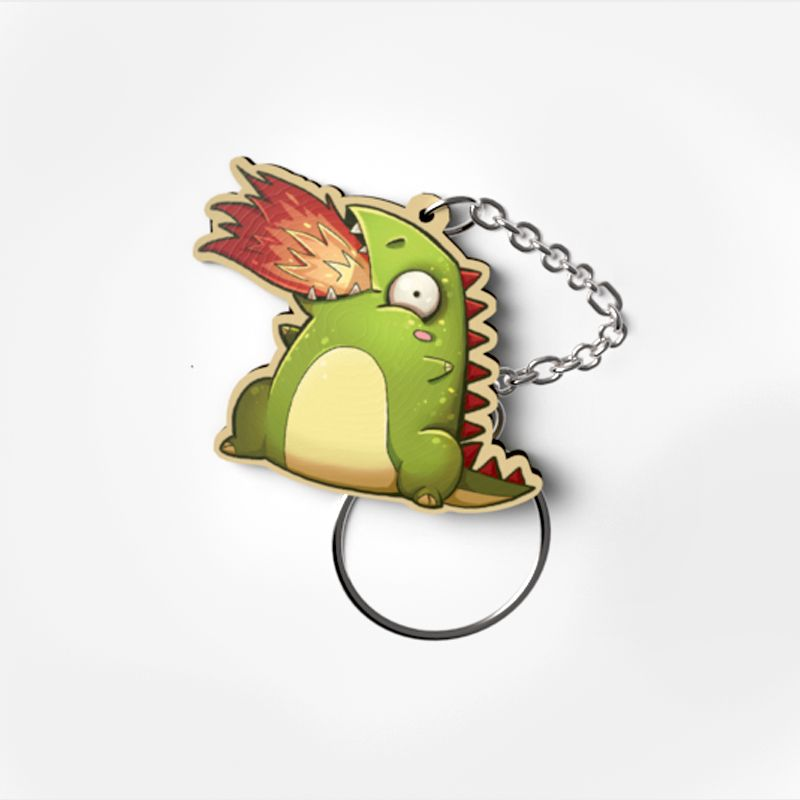Schlüsselanhänger Holz Dino