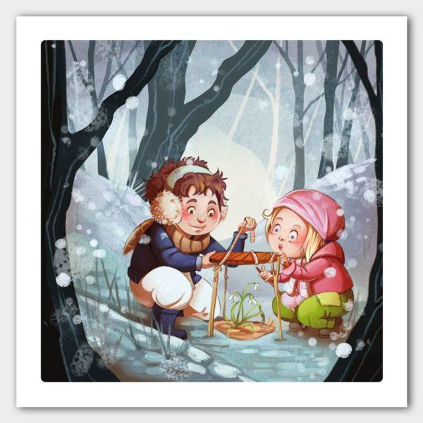 Kunstdruck Kinder im Schnee